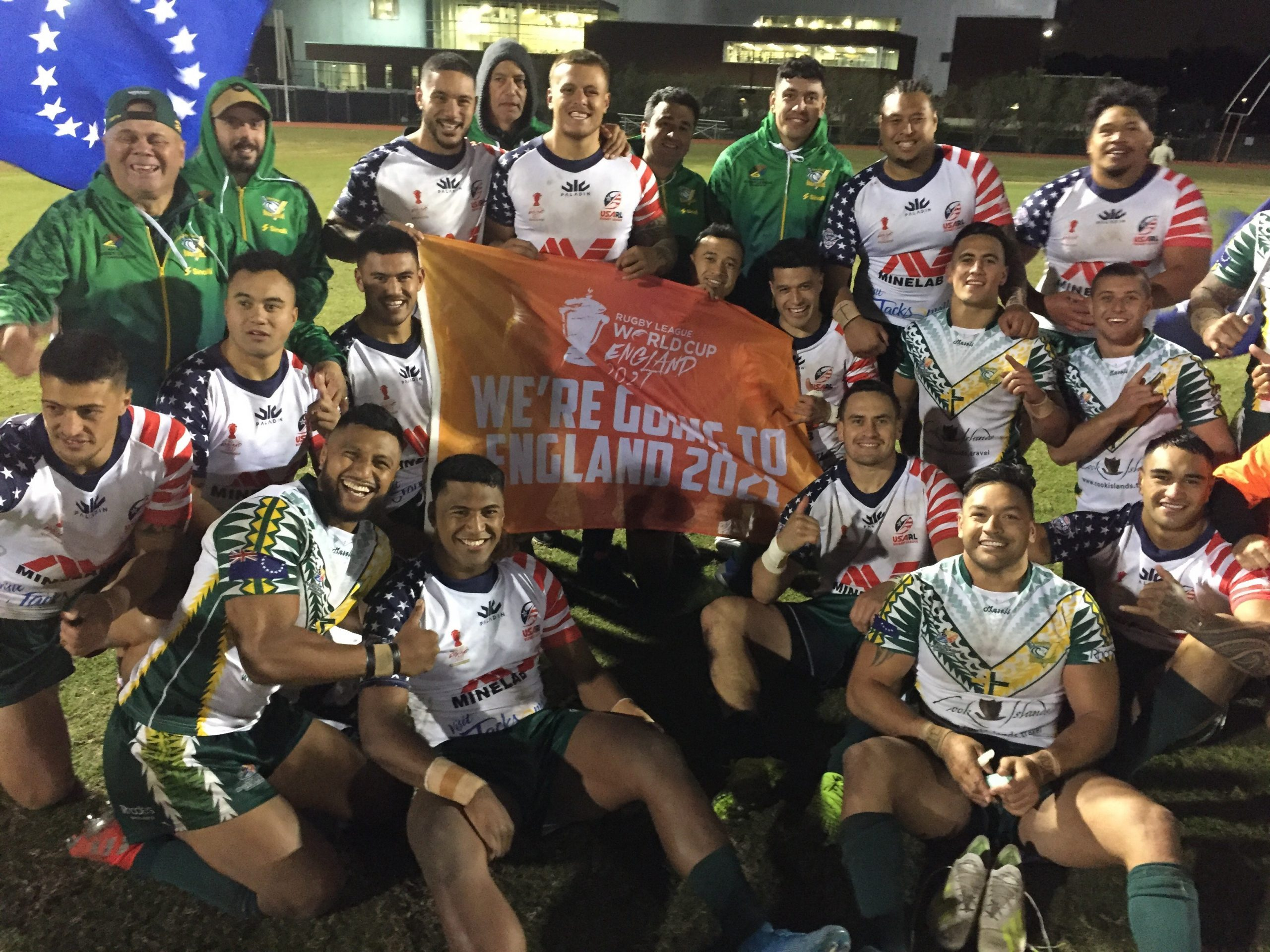 Cook Islands celebrate qualifying for RLWC2021